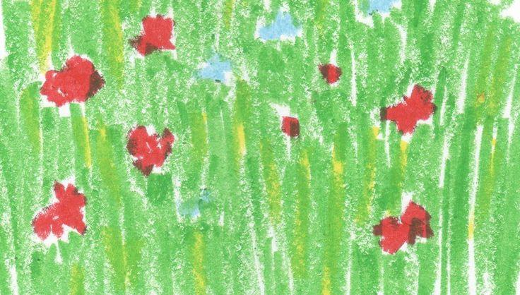 """Podczas wakacji u Dziadka, Inka z małą Mamą mają z okna widok na dziki, pachnący, kolorowy ogród, który przypomina łąkę. Fragment """"Szklanki z koszyczkiem"""": """"Zakołysała się firanka u okna otwartego na pachnący ogród. Nagle mała Mama zrobiła coś, czego Inka nigdy by się po niej nie spodziewała. Zdjęła buty, wspięła się na parapet i wskoczyła do ogrodu. Trawa łaskotała ją po łydkach. Pradziadek chyba dawno jej nie kosił. Ogród przypominał olbrzymią łąkę.Ogród przypominał olbrzymią łąkę."""""""