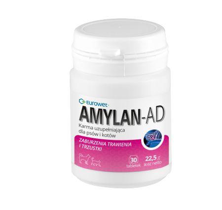 AMYLAN‐AD. Preparat AMYLAN-AD wspomaga leczenie zaburzeń trawiennych. W skład produktu wchodzą enzymy trawienne, których szybkie uwalnianie w dwunastnicy wspomaga trawienie pokarmu.