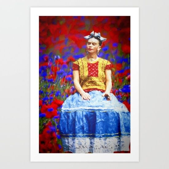 Collect your choice of gallery quality Giclée, or fine art prints custom trimmed by hand in a variety of sizes with a white border for framing. https://society6.com/product/frida-dreaming-away_print
