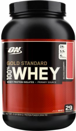 Optimum Nutrition Gold Standard 100% Whey Delicious Strawberry 2 Lbs. OPT058 Delicious Strawberry - 24g of Whey Protein with Amino Acids for Muscle Recovery and Growth*