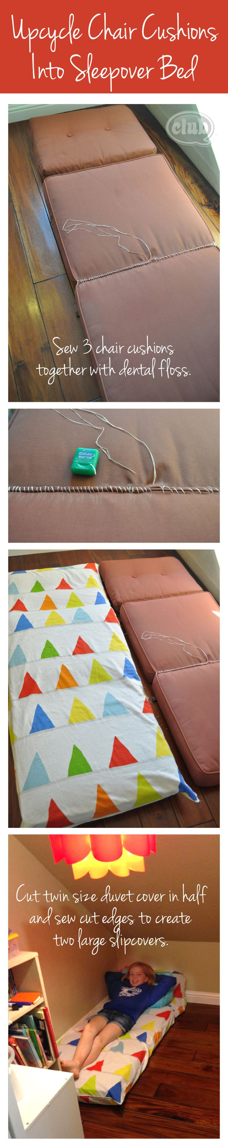 Reinventing Outdoor Cushions into Sleepover Mats | Tween Crafts - Connecting Mom and Daughter through crafting