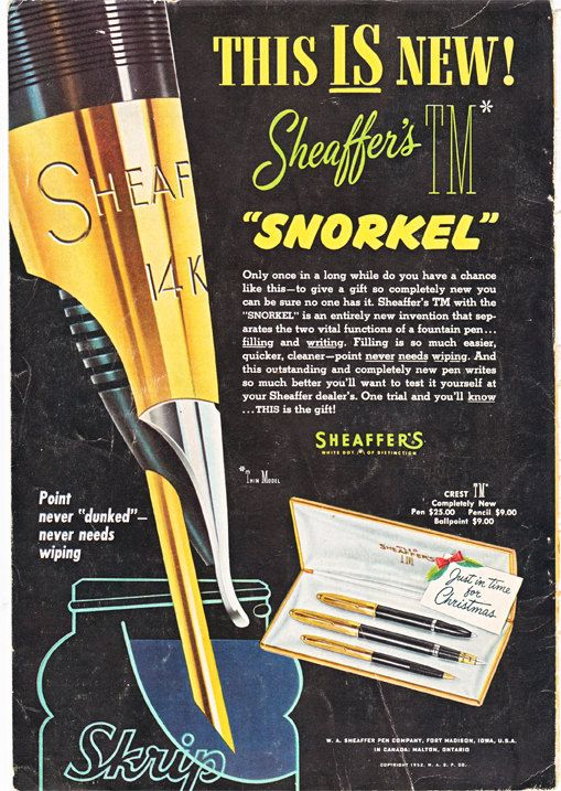 vintage ad for a Sheaffer's fountain pen, from 1952. #vintageads #fountainpen #writing https://www.etsy.com/listing/162700073/vintage-ad-for-a-scheaffer-fountain-pen
