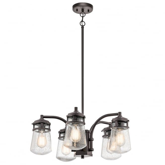 A rustic 5 light exterior chandelier in a bronze finish complete with clear seeded glass shades. The light comes supplied with two 15.2cm and two 30.5cm rods for siting as a suitable height. It is IP44 rated for safe use outside and is suitable for use on a standard switch, dimmer switch or separate PIR motion sensor providing the bulbs used are suitable. This would be great for lighting in a large porch of a period setting.