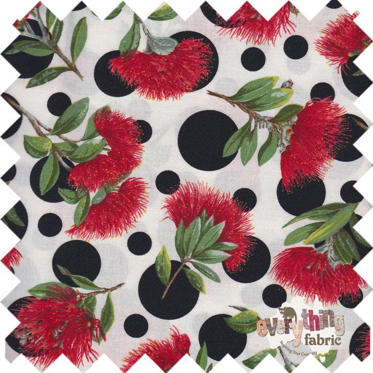 Kiwiana Fabric. Pohutakawa with polka dots. I love this fabric! http://www.everythingfabric.com.au/shop/category/fabric-by-collection/new-zealand/