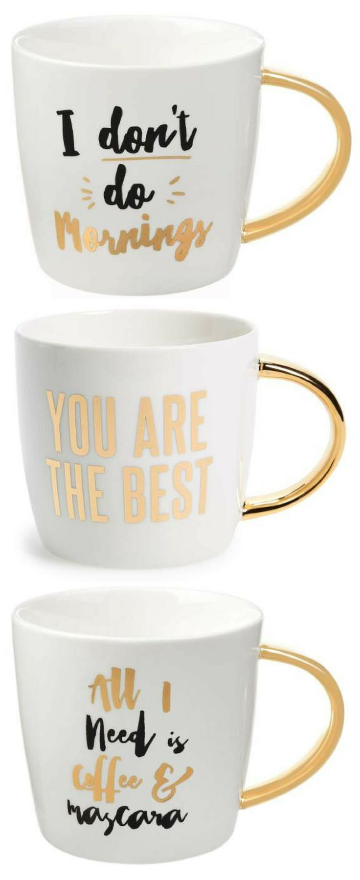 Gold accent coffee mugs with a little bit of inspiration. All I need is coffee and mascara, You are the best, I don't do mornings #coffee #golden #metallicgold #coffeemug #mascara #makeup #younique #marykay #gift #giftidea #affiliate