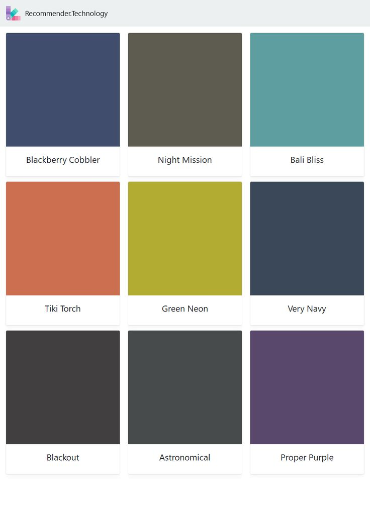 Blackberry Cobbler, Tiki Torch, Blackout, Night Mission, Green Neon, Astronomical, Bali Bliss, Very Navy, Proper Purple