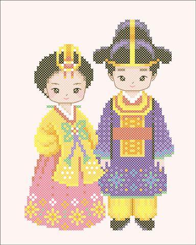 Korean stitching pattern - cute cartoon couple in hanbok
