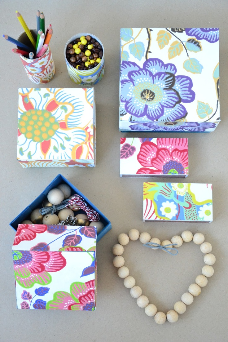 Decorate boxes with beautiful paper