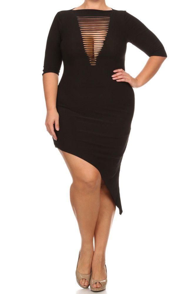 Plus Size Cut Out Front Asymmetrical Dress – PLUSSIZEFIX