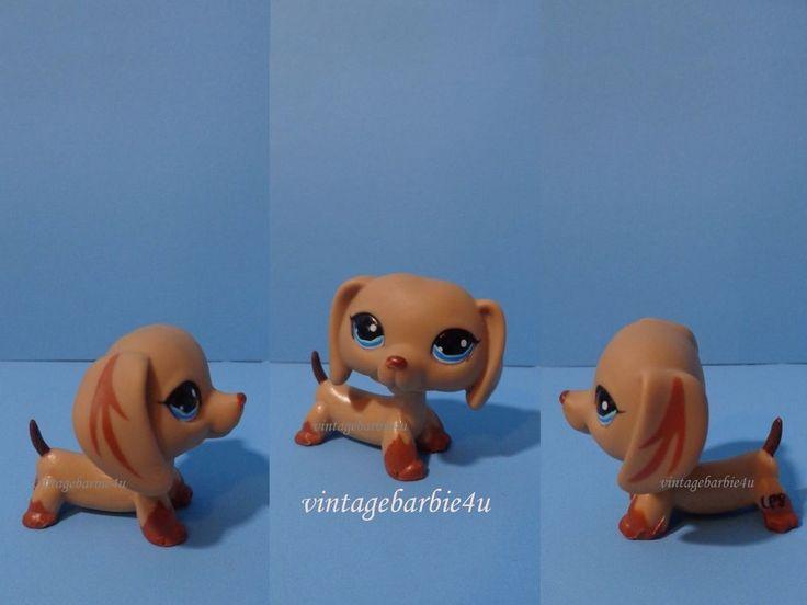 Littlest Pet Shop LPS #518 Dachshund Brown Dog Puppy Blue Eyes Striped Ears #Hasbro