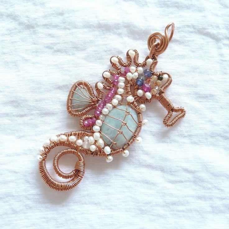 FlorinArt on etsy. Florina Ravariu creation, copper wire, aquamarine, rubies, iolite, black tourmaline semiprecious stones and white little cultur pearls