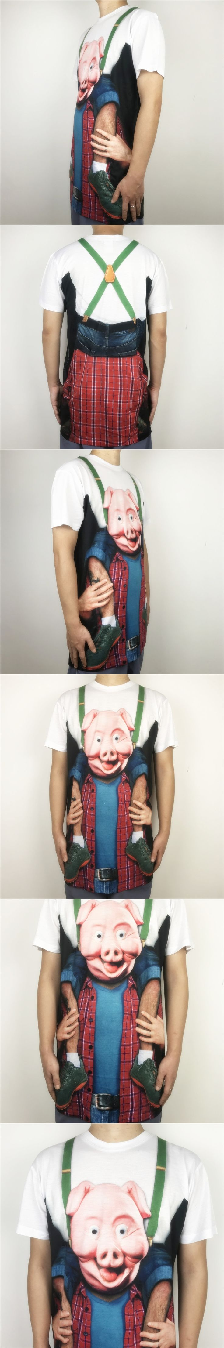 Funny Pig Head Printed Prank T Shirts for Men Halloween Party Short Sleeve Tee Plus Size S-2XL