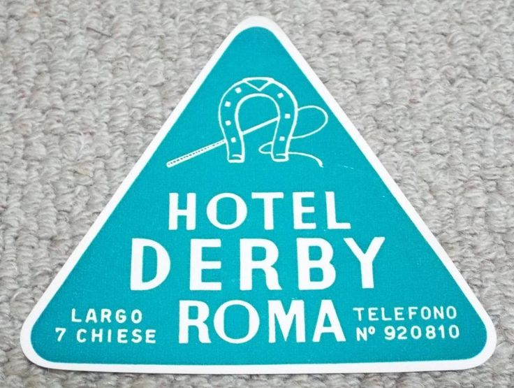 HOTEL DERBY - ROME - ITALY - VINTAGE HOTEL LUGGAGE LABEL