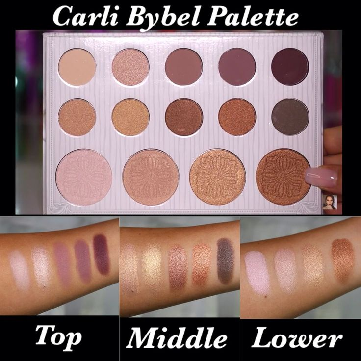 Carli Bybel Palette & Swatches | BH Cosmetics | Eyeshadow & Highlighter (top and middle rows are eyeshadow, lower row is highlighter)