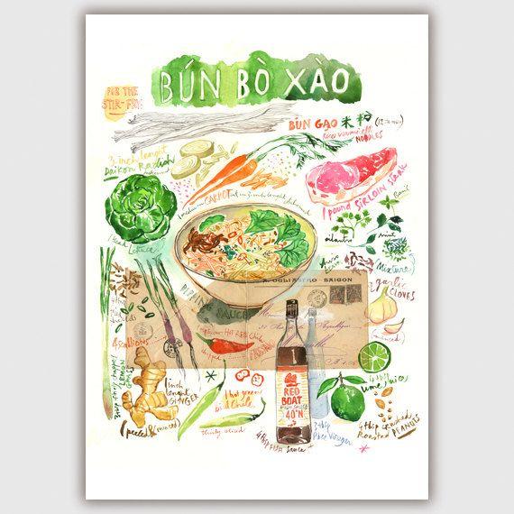 Kitchen Art, Bun Bo Recipe Watercolor Painting, Large