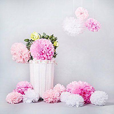 Bliqniq 15 DIY Pompom Pompons Papierblumen Dekoration für Hochzeit/ Gebutztag/ Baby Shower/ Weihnachten Weiß/Hellrosa/Rosa(20,25,35cm)