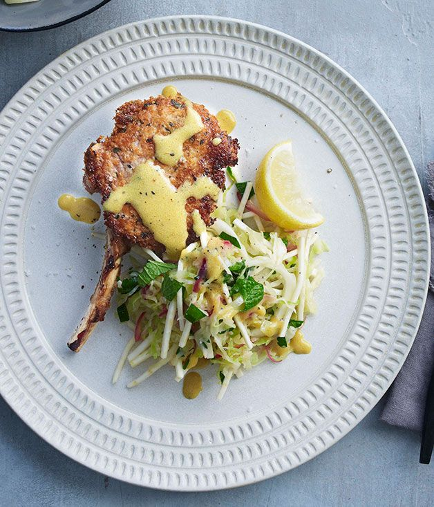 veal cutlets with warm cabbage and celeriac slaw recipe | Fast recipe | Gourmet Traveller