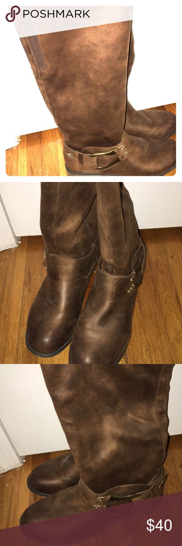 Dark chestnut Suede Brown long boots size 9 👢☕️ Lovely preloved suede boots size 9 comfy Unknown brand from 🎯 Target Boots hit right at the knee Shoes Heeled Boots