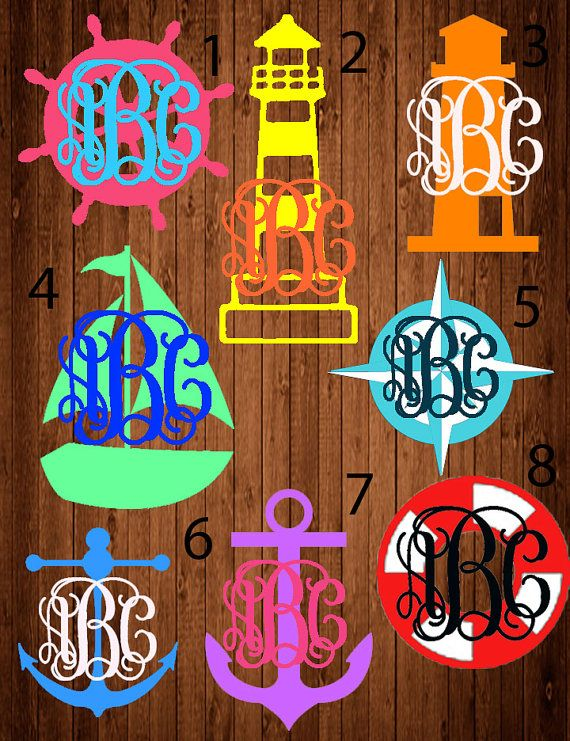 Nautical monogram decal Laptop sticker Car sticker by LCDAZZLE
