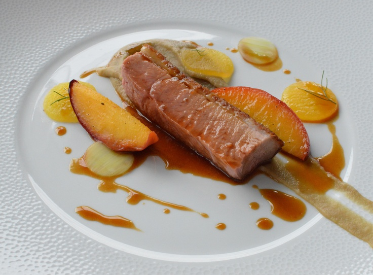 Roasted duck w peach, lavender & fennel