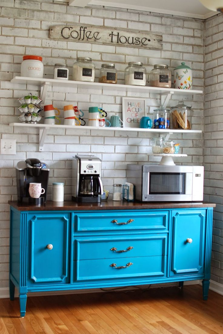Splashing Color into Your Coffee Bar- have a mini fridge, sink, and microwave with coffee making supplies in bedroom for coffee on the balcony :)