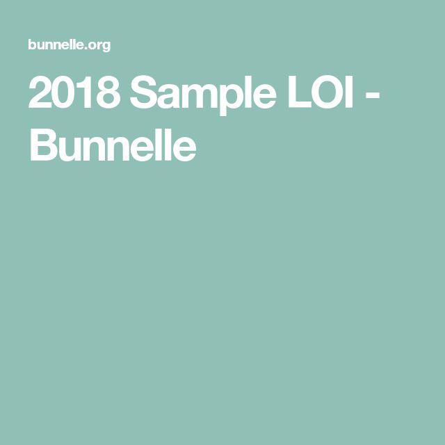 2018 Sample LOI - Bunnelle