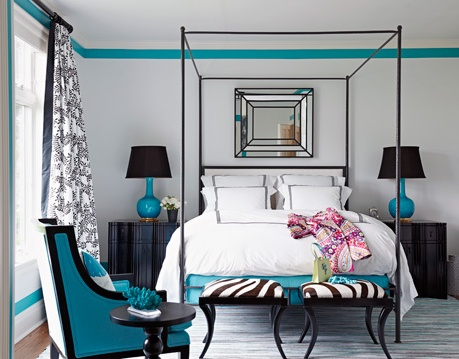 bringing the paint color in with one skinny stripe - good idea for just a pop of color: Turquoise, Color, Decorating Ideas, Dream House, Master Bedroom, White Bedroom, Bedroom Ideas, Beautiful Bedrooms