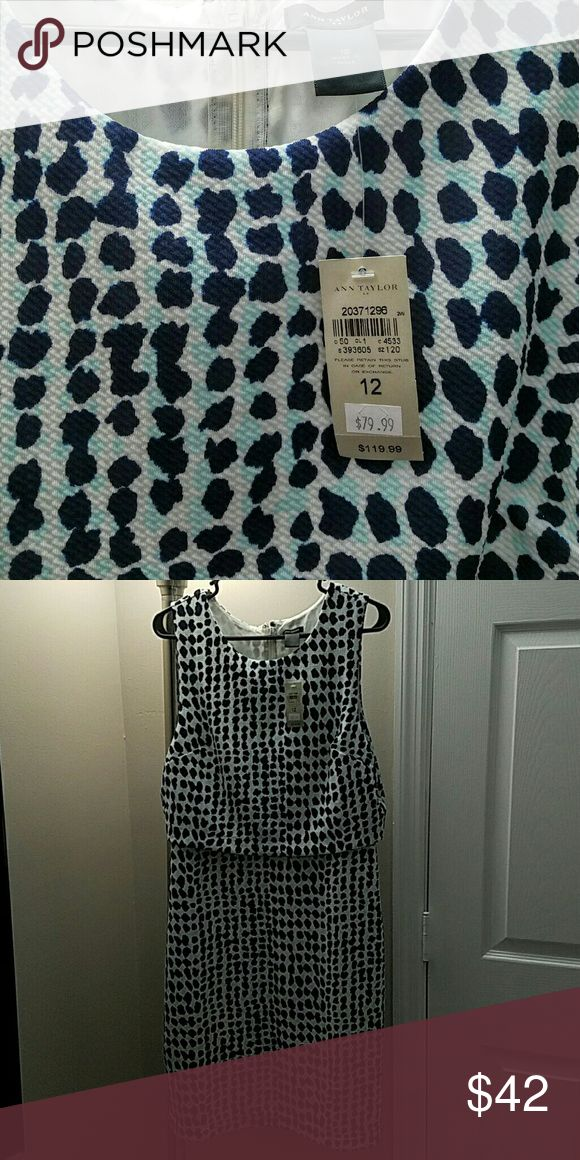 Ann Taylor Mid-Length dress, never worn Beautiful Mid-Length dress from Ann Taylor, with blue and aqua pattern, never worn, new with tags, it is gorgeous on, but it is too big on me now and I never got the opportunity to wear it! Ann Taylor Dresses