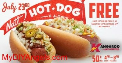 Kangaroo Express: FREE Hot Dog on July 23rd! | MY DIY ANGELS, DIY and Extreme Couponers