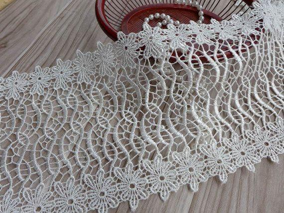 Off White Crochet Lace Trim Venezia Lace Trim per nuziale, polsini, abiti da sposa, costumi