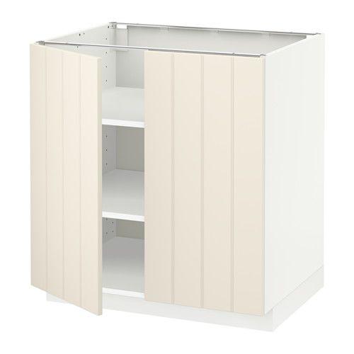 METOD Onderkast met plank/2 deuren - 80x60 cm, Hittarp ecru, wit - IKEA