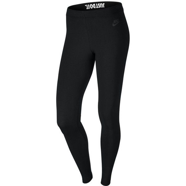 Nike Womens Leg-A-See Just-Do-It Leggings Black/Black 678834-010 Size... ($40) ❤ liked on Polyvore featuring pants, leggings, legging pants, nike leggings, nike pants and nike