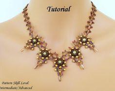 ELADVEN superduo beaded necklace beading by PeyoteBeadArt on Etsy