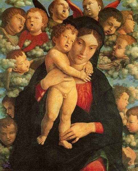 Madonna y niño con los Querubines, 1480-1490 - Andrea Mantegna