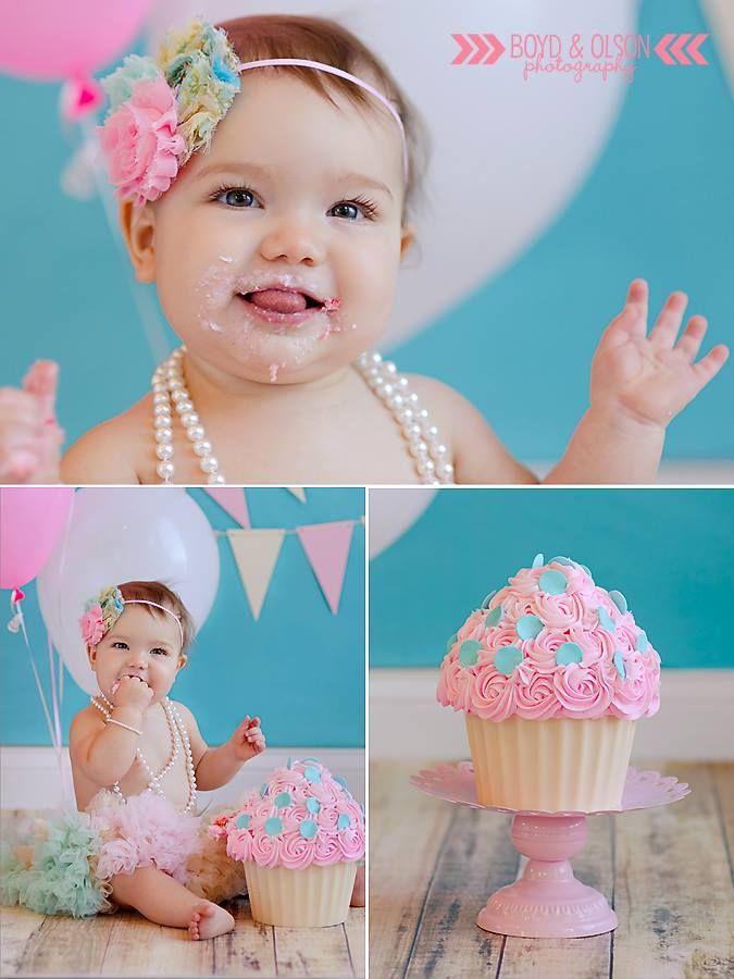 #boydandolsonphoto pink and teal birthday smash cake photography princess smash cake