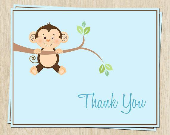 Douche de bébé singe, saupoudrer ou anniversaire cartes de remerciements, petit singe, bleu, lot de 24 avec enveloppes, navire libre, MKABL, Monkey autour garçon