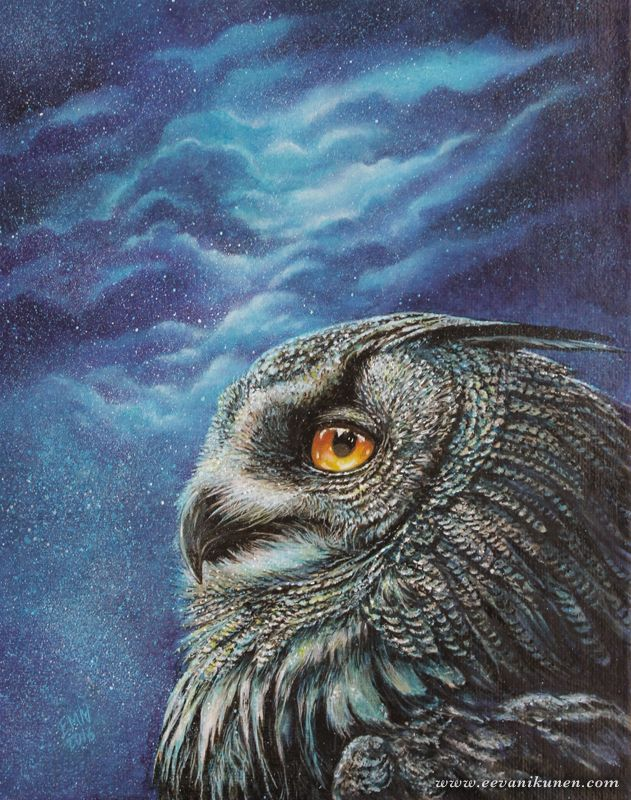 'Infinity' Owl painting by Eeva Nikunen. Oil on canvas.