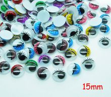 200pcs/lot Round Random mixed Color With the Eyelashes Eye Activities Moving Eyes Plastic Eyes For Doll Toy 15mm(China (Mainland))