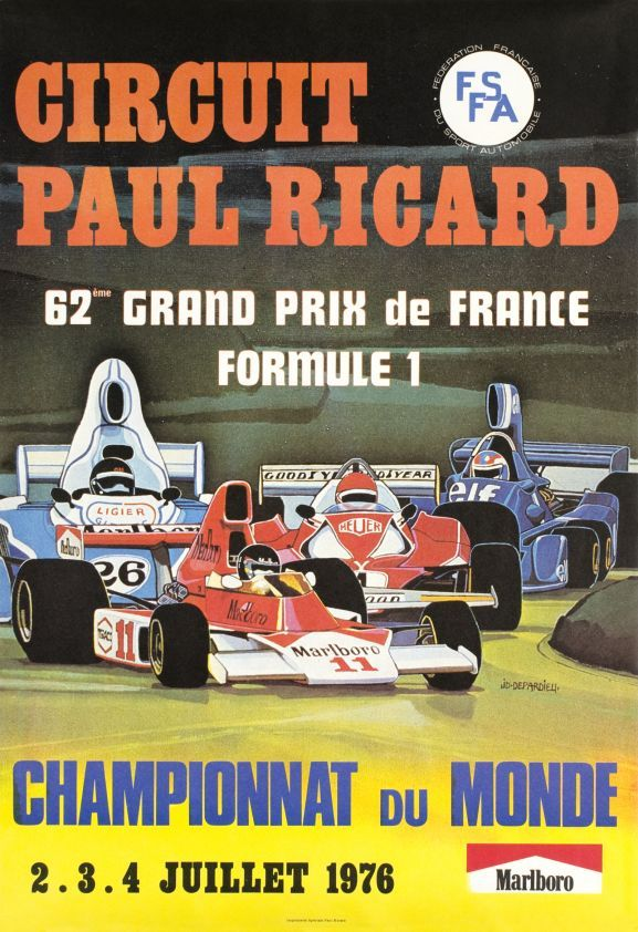 62 me grand prix de france formule 1 circuit paul ricard depardieu j d 1976 grand prix. Black Bedroom Furniture Sets. Home Design Ideas