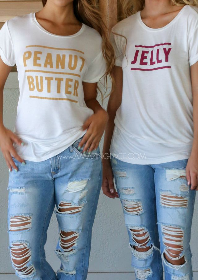 PEANUT BUTTER AND JELLY BEST FRIEND SHIRTS FROM THE ORIGINAL  AMAZINGLACE.COM