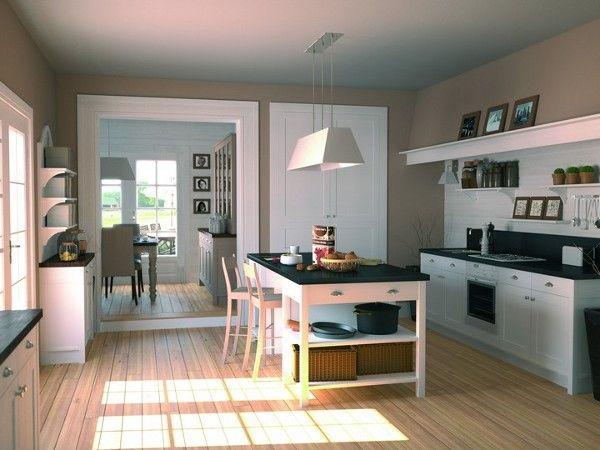 #Cocina #clasica en color #blanca con encimera en granito negro #kitchen #trend #rustic
