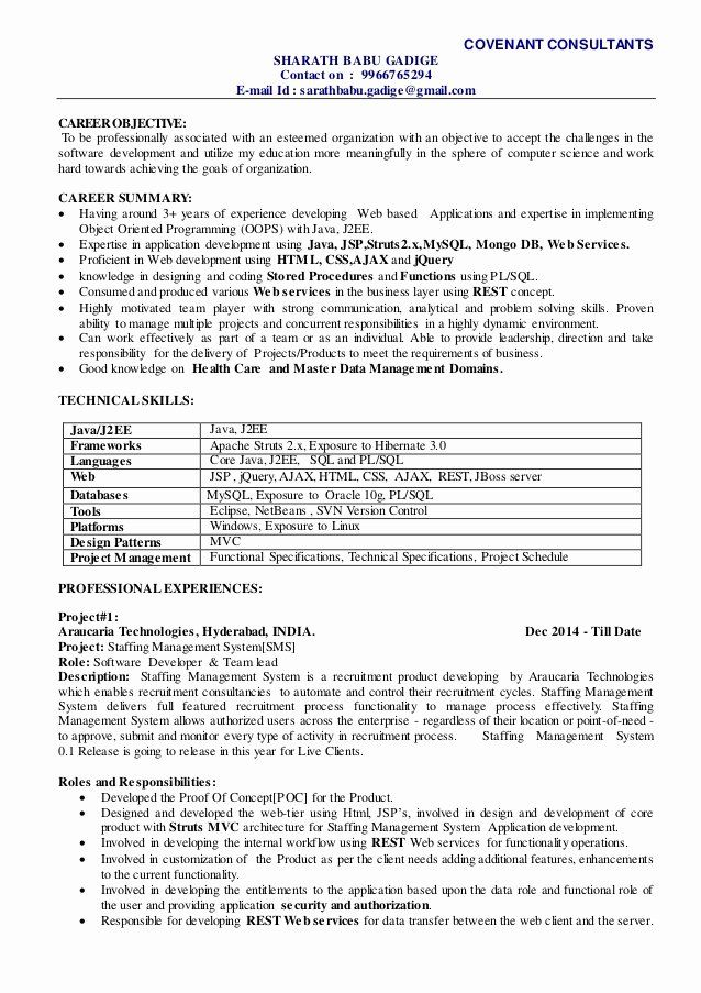 Team Leader Resume Sample 2 Unique Sharath Technical Lead Resume Project Manager Resume Resume Examples Sample Resume