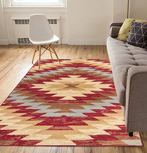 Bathroom Rugs Ideas | Carly Medallion Red 5x7  5 x 7  Southwestern Transitional Casual Classic Thin Value Area Rug Perfect for Living Room Dining Room Family Room * See this great product. Note:It is Affiliate Link to Amazon.