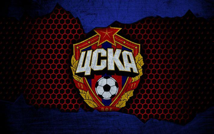 Download Wallpapers CSKA Moscow, 4k, Logo, Russian Premier