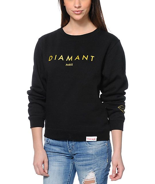 Keep shining in brilliant style in the Diamant Black crew neck sweatshirt from Diamond Supply Co. This pullover sweatshirt for women is made with a thick cotton poly blended construction with a soft fleece lining for absolute comfort, while the Gold graph