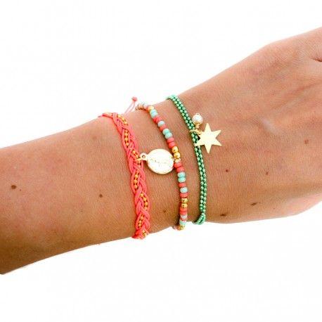 Pulsera Trenza Fucsia Virgencita Estrella - TIENDA ONLINE www.dulceencanto.com #pulseras #accesorios #colombia