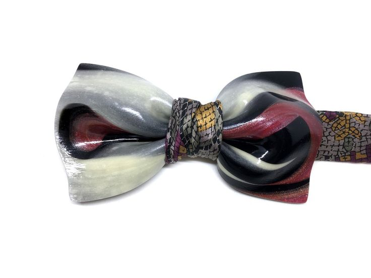 "Erik (""Glo!"" Collection)- polymer sculpture and vintage silk bow tie - #ooak #bowtie #bowties #guillotinebowtie #mensfashion #mensstyle #menstyle #streetstyle #womenswear #menswear #hautecouture #fashion #accessories #dandy"