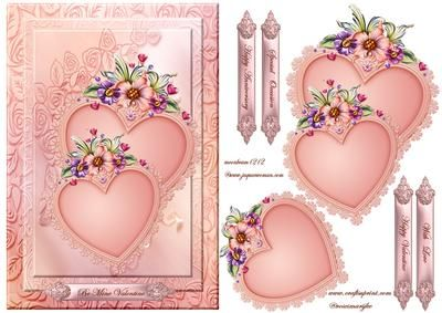 Valentine hearts on Craftsuprint designed by Marijke Kok - Beautiful design for valentine/other occasions - Now available for download!