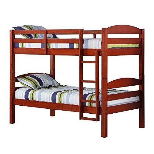 Furniture Bedroom Sets Twin Over Twin Solid Wood Cherry Finish Kids Bunk Beds  #FurnitureBedroomSetsTwin