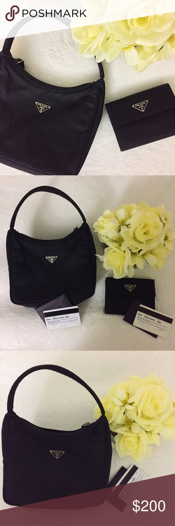 """PRADA mini shoulder bag and wallet BUNDLE BAG: Prada MV515 Tessuto Sport Bag in Black Vela Nylon. Zip top closure. One main compartment with enough space for daily necessities. Size: 8""""W x 6.25""""H x 2.75""""D; Strap: 6"""" ---- WALLET: PRADA Tessuto Nylon French Wallet Nero Black; opens with a strap to a cross-grain leather interior with card slots, patch pockets and a bill fold and a flap opens to a currency compartment. 5""""Lx4""""Hx1""""D. Both preloved but EUC. No dust bags/boxes. Prada Bags Mini Bags"""